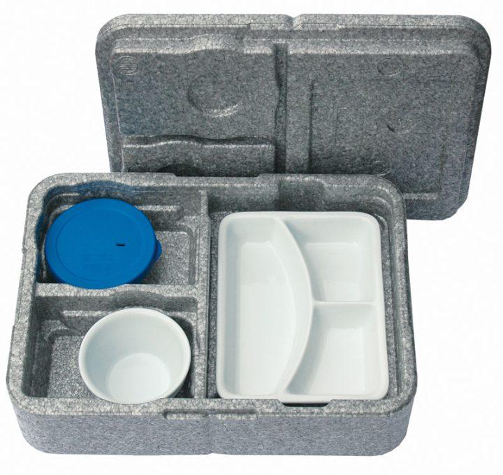 Dinner kasse til portionsanretning. 3 rum - 1 portion + 2 tilbehør.-0