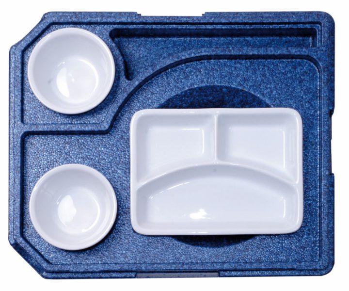 Dinner kasse til portionsanretning. 3 rum - 1 portion + 2 tilbehør.-414