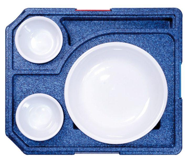 Dinner kasse til portionsanretning. 3 rum - 1 portion + 2 tilbehør.-413