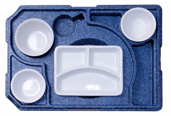 Dinner kasse til portionsanretning. 4 rum - 1 portion + 3 tilbehør.-0
