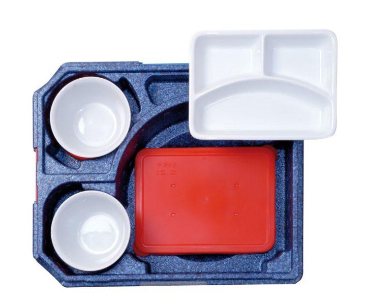 Dinner kasse til portionsanretning. 6 rum - 2 portioner + 4 tilbehør.-420