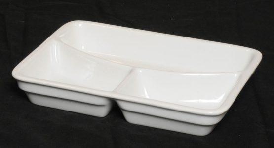 Porcelænstallerken med 3 rum (rektangulær).-0