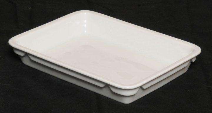 Porcelænstallerken med et rum (rektangulær).-0