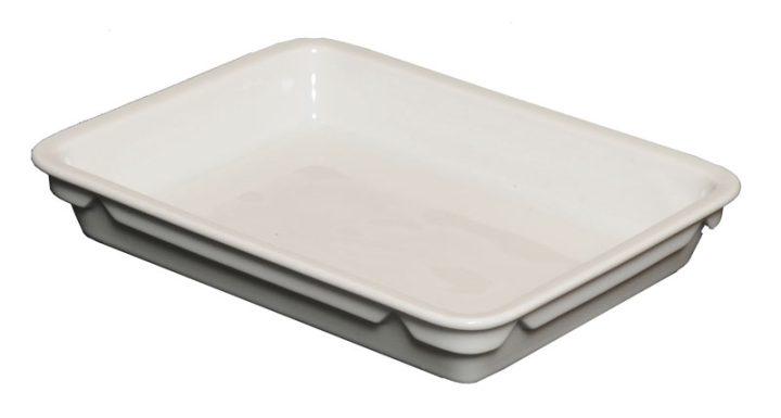 Porcelænstallerken med et rum (rektangulær).-440
