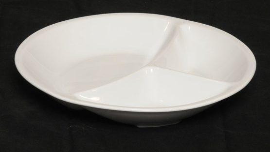 Porcelænstallerken med 3 rum (rund).-0