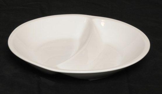 Porcelænstallerken med 2 rum (rund).-0